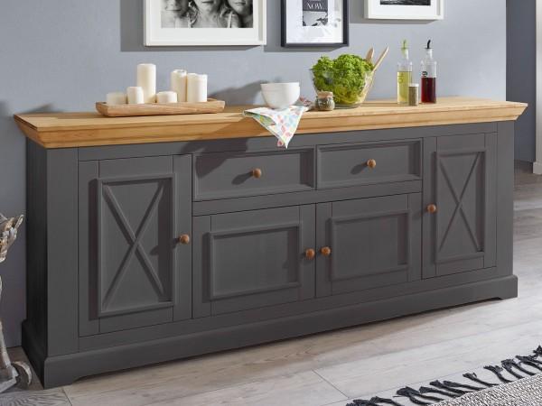 Sideboard grau Massivholz Anrichte Macra 4 Holztüren und 2 Schubladen Pinie Nordica gewachst