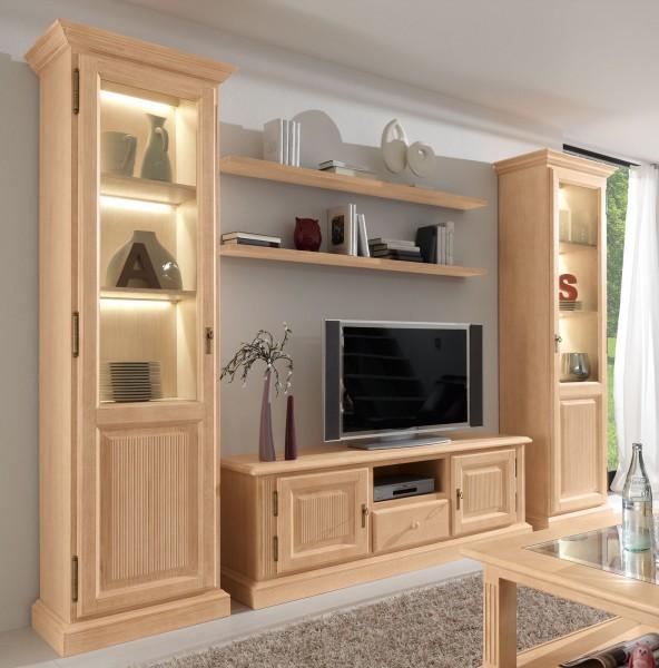 Wohnwand Wohnzimmer Schrank Set Casapino 5-teilig 2 Vitrinen TV-Schrank 2 Wandborde
