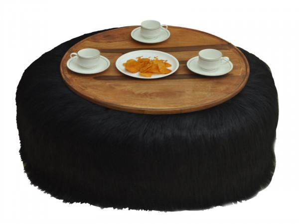Couchtisch Wohnzimmertisch Beistelltisch Ø 80 cm Höhe 32 cm Kunstfell schwarz