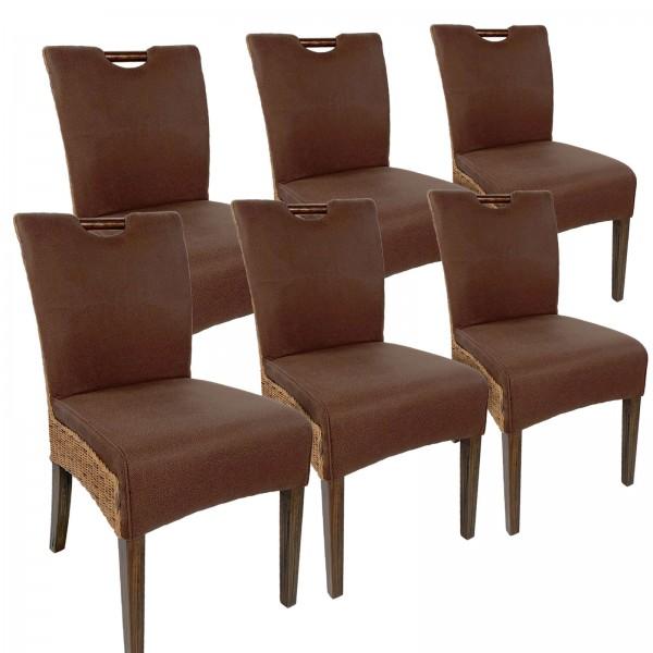 Rattanstühle Esszimmer Stühle 6er SET Bilbao vollgepolstert Polster prairie brown