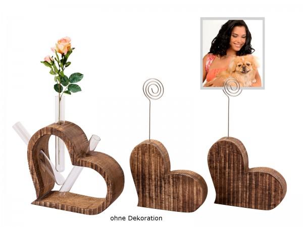 Fotoständer Blumenvase Set 3-teilig Herzen Fotohalter Tischdeko Hochzeitsdeko Mangoholz massiv
