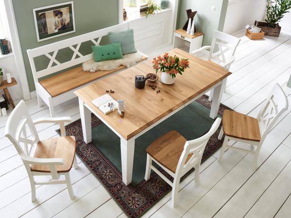 Sitzgruppe Novara Esstisch + Sitzbank 2 Stühle + 2 Armlehner Pinie Nordica weiß Wildeiche massiv