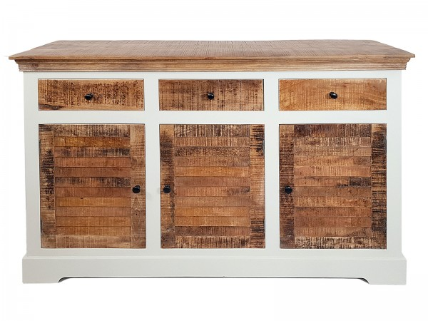 Sideboard Anrichte B 140 H 90 cm Kommode 3türig Ibiza Massivholz Mangoholz massiv weiß natur