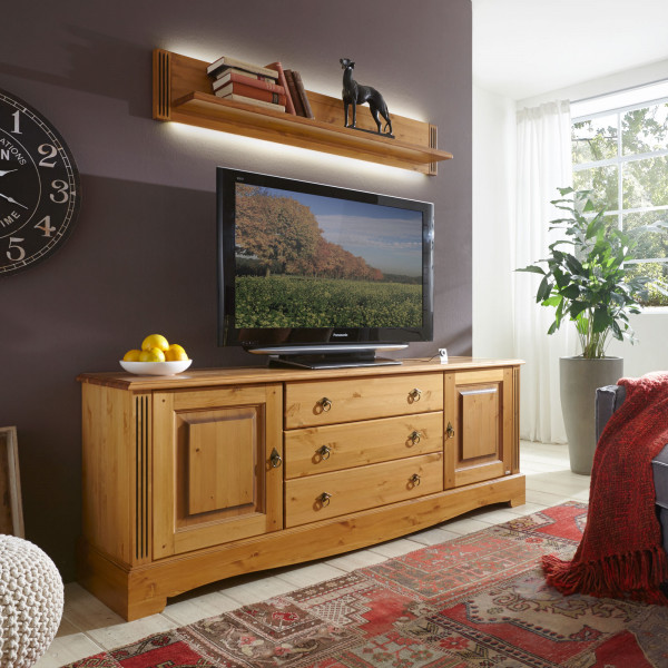 TV Lowboard Set Florenz 2-teilig TV Lowboard und Wandbord Pinie Nordica massiv sierra