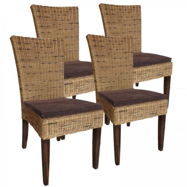 Esszimmer Stühle Rattanstühle Wintergarten Cardine 4 Stück cabana mit/ohne Sitzkissen braun