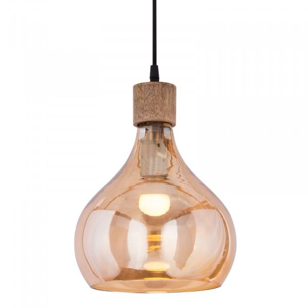 Hängeleuchte 2. Wahl Pendelleuchte Deckenlampe Deckenleuchte Tropfen Form bernstein Krone Holz