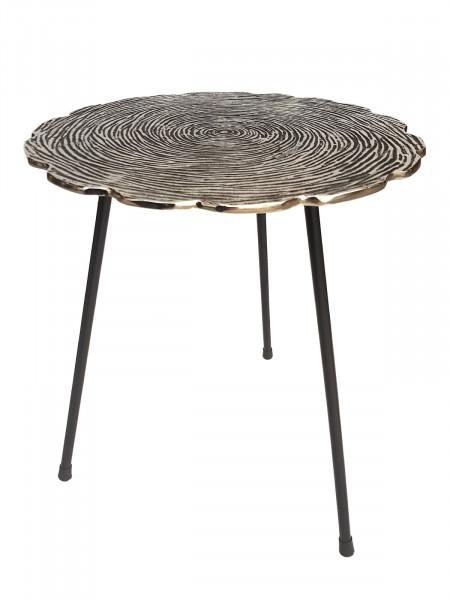 Beistelltisch Metall Dekotisch Hilton ø 35 x H 46 cm rund Aluminium mit Struktur silber od. gold